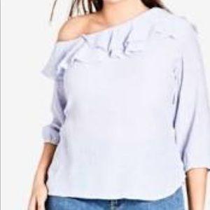 City chic shoulder blue top. plus size